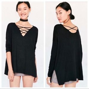UO Silence + Noise Black Kendall Sweater Sz M